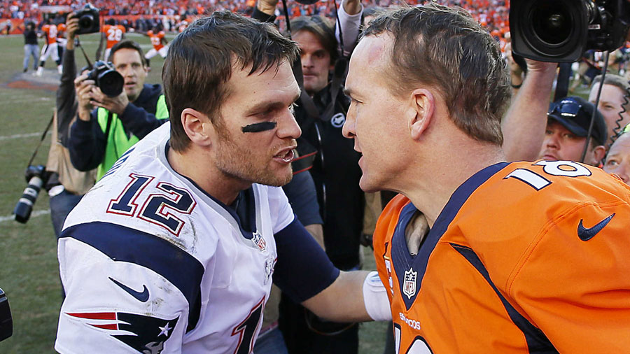 Tom Brady and Peyton Manning, QBs of the Patriots and Broncos, respectively.